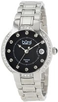 Burgi Women's BUR077SSB Stainless Steel Diamond Date Bracelet Watch
