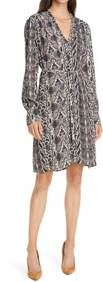 Judith & Charles Amira Snake Print Long Sleeve Dress