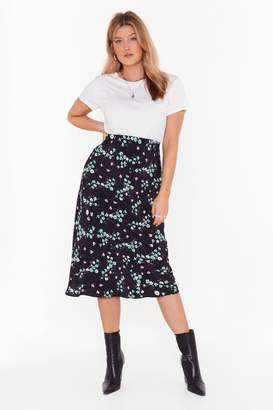 Nasty Gal Womens Bud of Been There Floral Plus Midi Skirt - black - 16