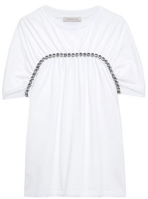 Christopher Kane Crystal-embellished Gathered Cotton-jersey T-shirt