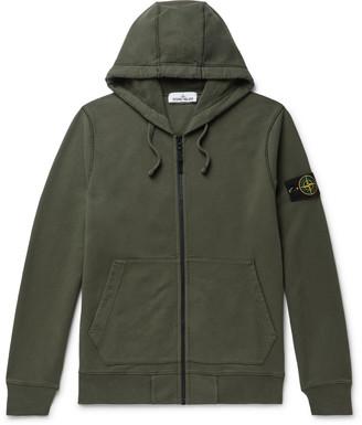 Stone Island Logo-Appliqued Fleece-Back Cotton-Jersey Zip-Up Hoodie