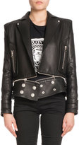 Balmain Leather Open-Front Moto Jacket with Coin Embossed Logo