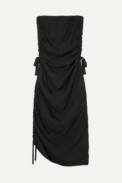 By Malene Birger Chita Ruched Satin Midi Dress - Black