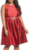Eliza J Embellished Mikado Fit & Flare Dress (Plus Size)