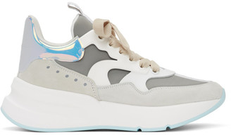 Alexander McQueen White and Blue Leather Sneakers