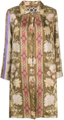 Pierre Louis Mascia Floral-Print Silk Coat
