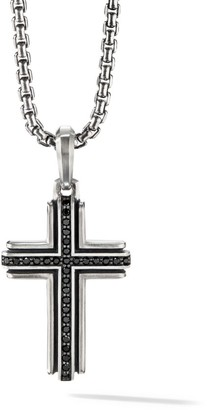 David Yurman Pave Black Diamond Sterling Silver Deco Cross Pendant