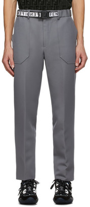 Fendi Grey Wool Belted Trousers