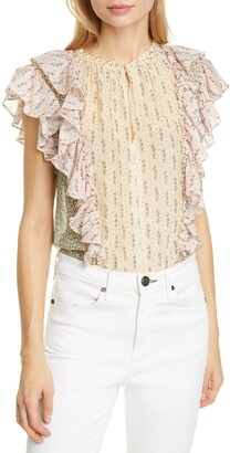 La Vie Rebecca Taylor Pascale Mixed Floral Print Cotton & Silk Top