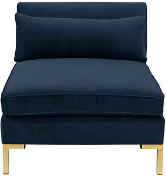One Kings Lane Marceau Slipper Chair - Navy Velvet