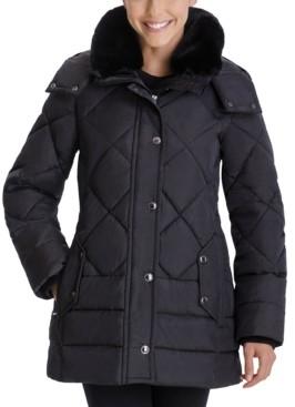 London Fog Faux-Fur-Collar Hooded Puffer Coat