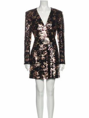 Balmain Colorblock Pattern Mini Dress Black