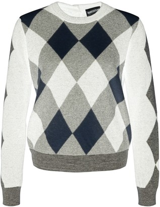Semi-Couture SEMICOUTURE Bicolor Wool Sweater With Rhombus Pattern And Back Buttons