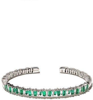 Suzanne Kalan 18kt white gold Flexible emerald and diamond baguette cuff