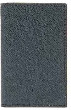 Valextra Compact Bi-fold Grained Leather Wallet - Womens - Navy