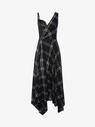 Alexander McQueen Asymmetric Check Blanket Dress