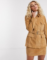 Lab Leather belted suede jacket in tan