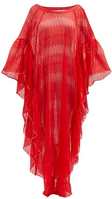 Missoni Mare Lace-knitted Chevron-striped Kaftan - Red