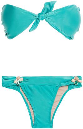 Adriana Degreas Knotted Stone-embellished Bandeau Bikini