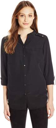 Notations Women's Long Sleeve Rolled to 3/4 Sleeve Madarin Collar Shirt