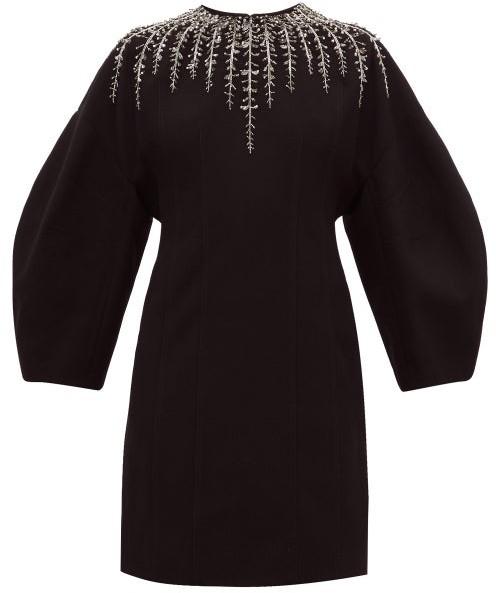 Givenchy Foliage-embellished Crepe Dress - Womens - Black