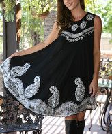 Ananda's Collection Women's Casual Dresses black - Black & Silver Floral Embroidered Shift Dress - Women