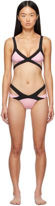 Agent Provocateur Pink & Black Mazzy Bikini Top
