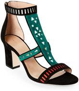 Tamara Mellon Black Indiana Tribal Open Toe Block Heel Sandals