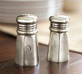 Pottery Barn Antique Silver Sentiment Salt & Pepper Shakers