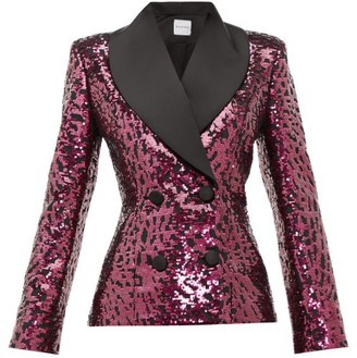 Halpern Shawl-lapel Double-breasted Sequined Jacket - Fuchsia