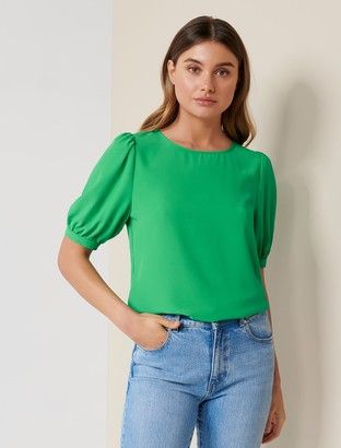 Forever New Amena Shell Blouse - Apple Green - 10