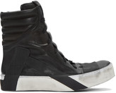Boris Bidjan Saberi Black Distressed High-Top Sneakers
