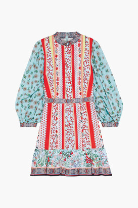 Alice + Olivia Raya Printed Voile-paneled Pintucked Cotton-poplin Mini Dress