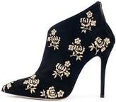 Oscar de la Renta Embroidered Suede Elkin Ankle Boots