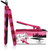 Brilliance New York 2-Piece Traveling Set: 1.25 Pink Stripes Home Flat Iron & Hot Pink Mini Travel Flat Iron