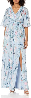 Adrianna Papell Women's Plus Size Printed Floral Chiffon Gown