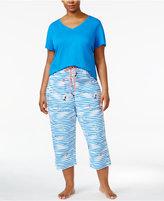 Hue Plus Size Waves Cotton Capri Pajama Pants