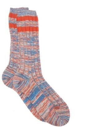 Raey Marled Wool-blend Socks - Mens - Orange Multi