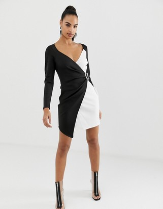 Asos DESIGN mono color block wrap mini dress with buckle