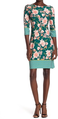 London Times Floral Jersey Sheath Dress