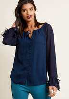 Mixed Media Long Sleeve Button-Up Top in Navy in M - Regular Waist by ModCloth