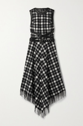 Michael Kors Dover Belted Leather-trimmed Checked Wool Midi Dress - Black