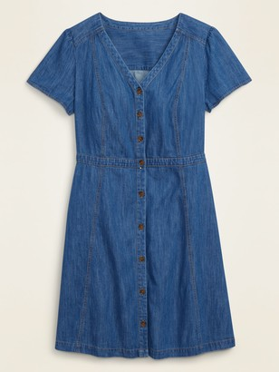 Old Navy Fit & Flare Button-Front No-Peek Plus-Size Jean Dress
