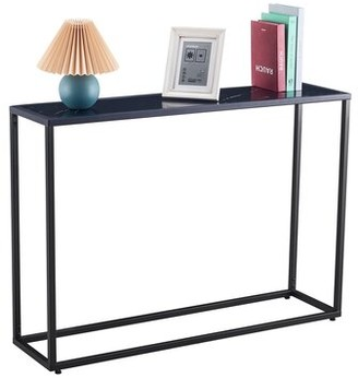 "Everly Quinn Jessy 41.73"" Console Table Color: Black Top/Black Base"