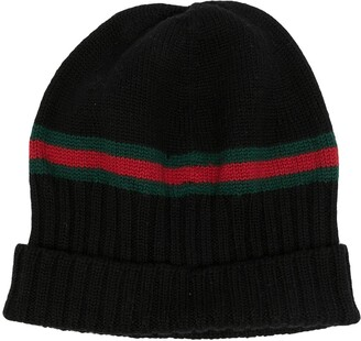 Gucci Pre-Owned Web stripe wool beanie