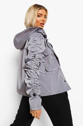 boohoo Ruched Sleeve Oversized Rain Mac