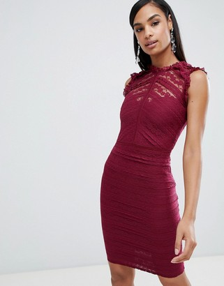Lipsy high neck lace dress with ruffle detail