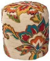 Kas Rugs Grand Floral Ivory & Teal Accent Pouf