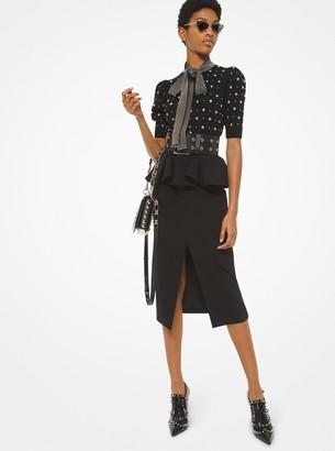 Michael Kors Stretch Pebble Crepe Peplum Slit-Front Skirt