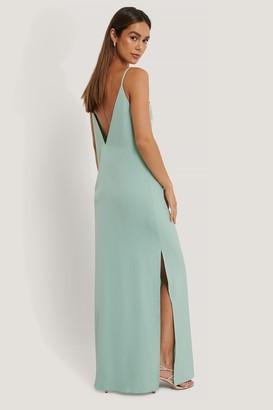 Anika Teller X NA-KD Deep Back Satin Long Dress
